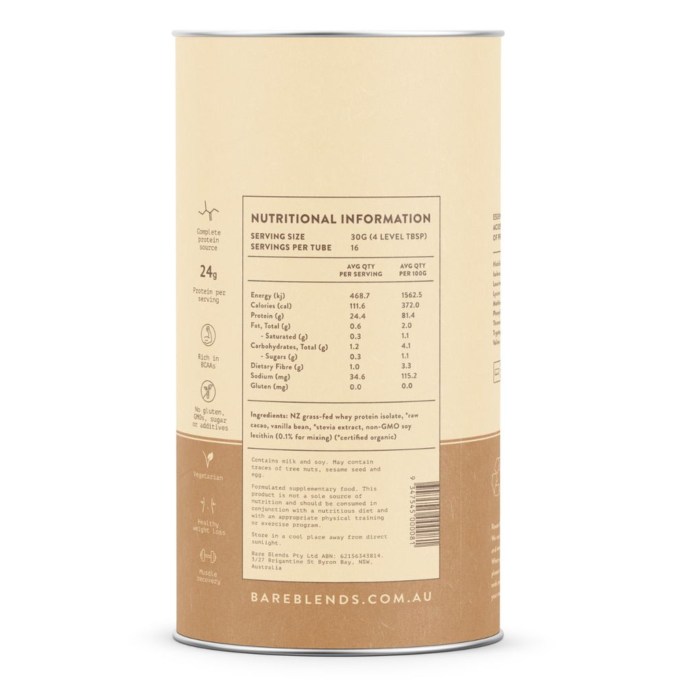 Bare Blends - Raw Cacao WPI Protein Powder