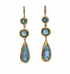 Long Blue Topaz and Aquamarine Earrings