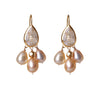 Chandelier Earrings of Rutilated Quartz and Freshwater Pearls wrapped in 24K Gold Hang 40 mm Width 20 mm