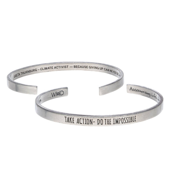 Take Action, Do The Impossible Cuff Bracelet