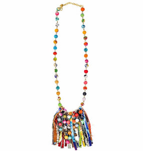 Dotted Fringe Kantha Necklace