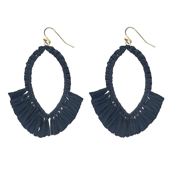 Raffia Fringe Drop Earrings - Black , Natural