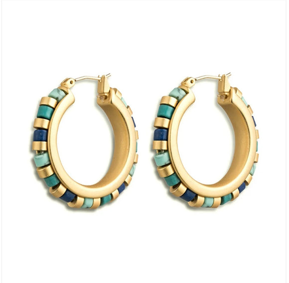 SALE-Middle Kingdom Cylindrical Bead Earrings .