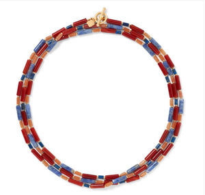 Egyptian Carnelian and Lapis Bead Necklace.