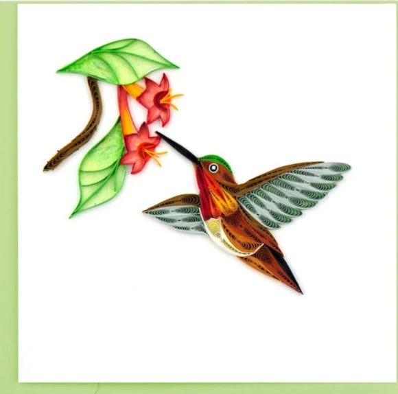 Quilled Rufous Hummingbird Greeting Card