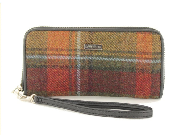 Tweed Wallet - Orange & Charcoal Plaid