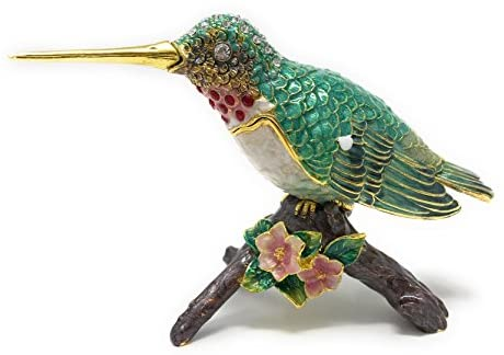 Hummingbird on Branch Trinket Box