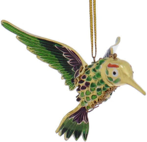 Kubla Green, Purple Cloisonne Articulated Hummingbird Ornament
