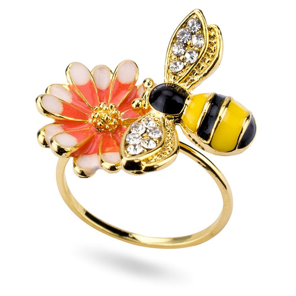 Ring Bee & Flower Made with Enamel and Crystal Glass