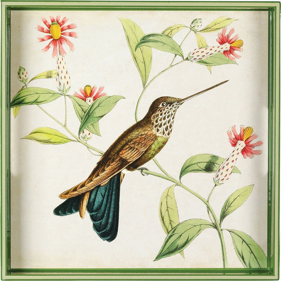 Hummingbird 15 inch Square Lacquer Art Serving Tray