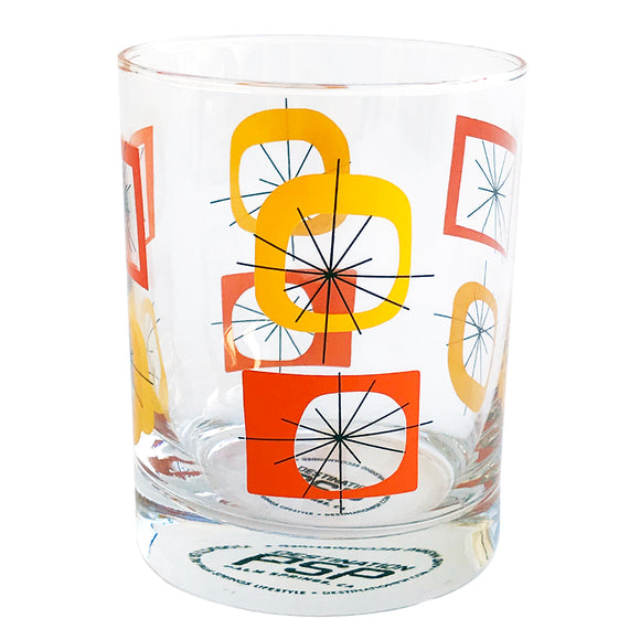 Orange Atomic Old Fashioned Glass