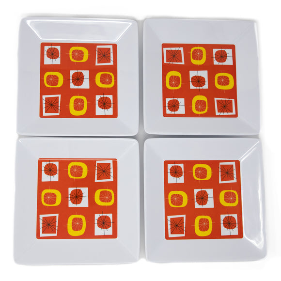 Atomic Orange Melamine Appetizer Plates- Set of 4