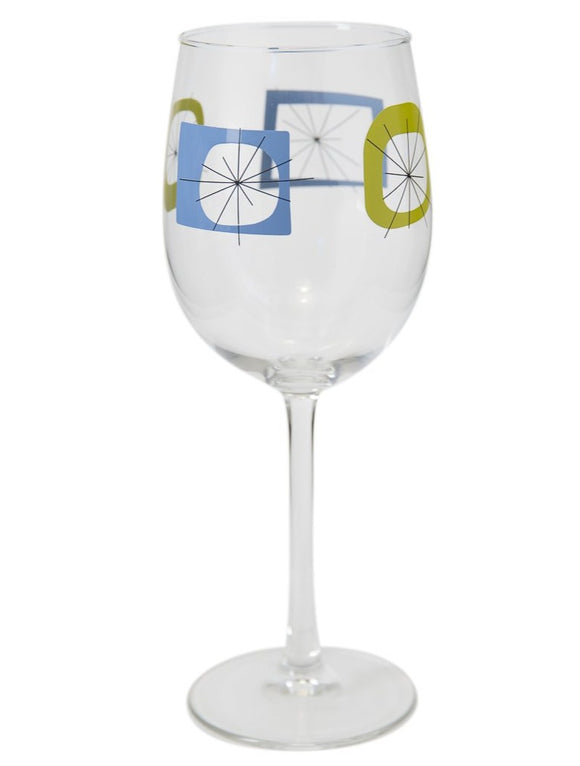 Blue Atomic Wine Glass
