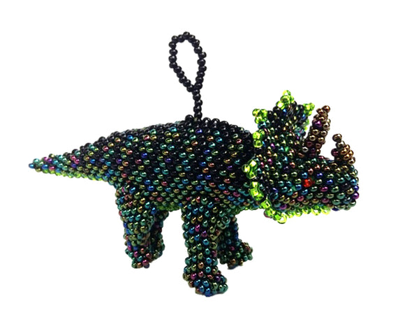 Beaded Triceratops Ornament
