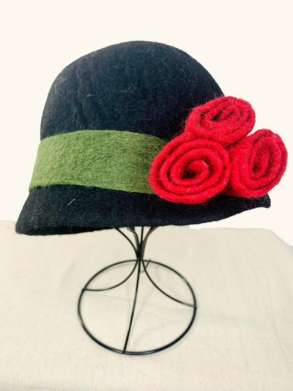 Black Hat with Red Flowers