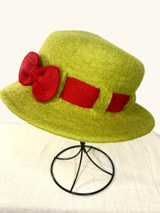 Felt Hat with Red Bow
