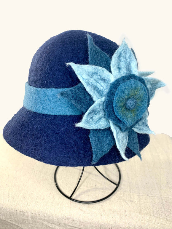 Blue Hat with Blue Flower