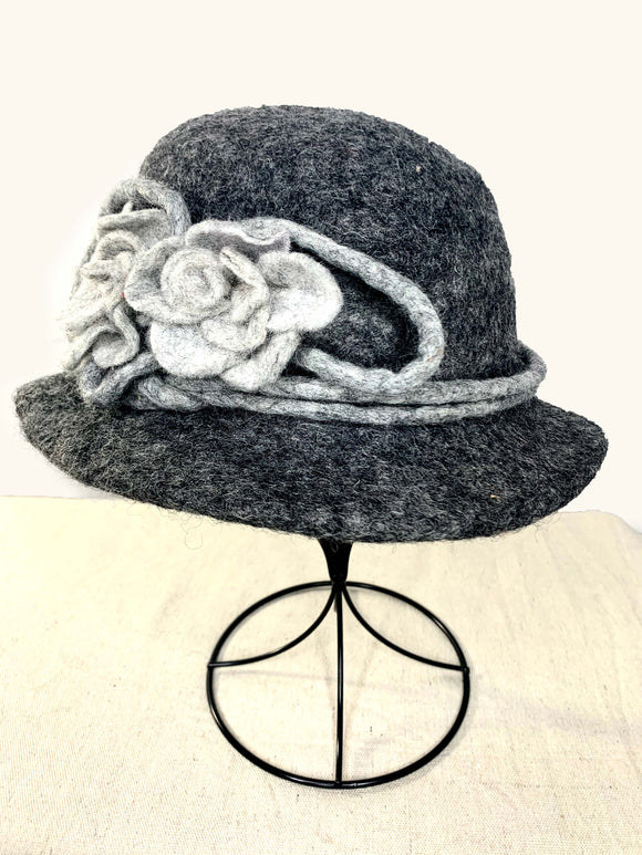 Charcoal Grey Hat with Flower