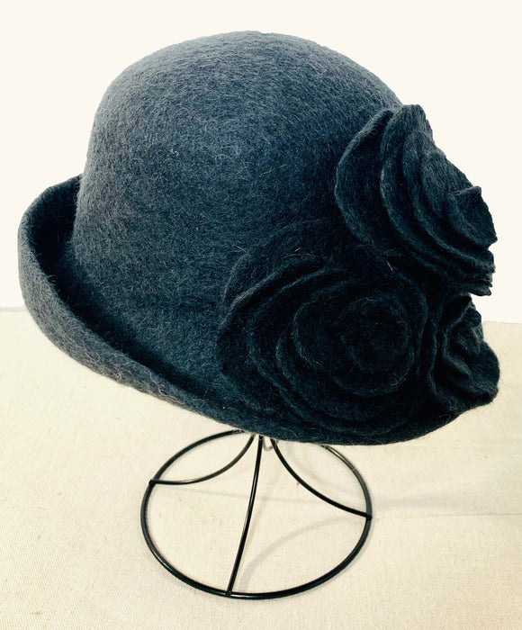 Felt Hat with Charcoal Roses