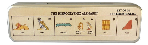 The Hieroglyphic Alphabet Set of 24 Colored Pencils