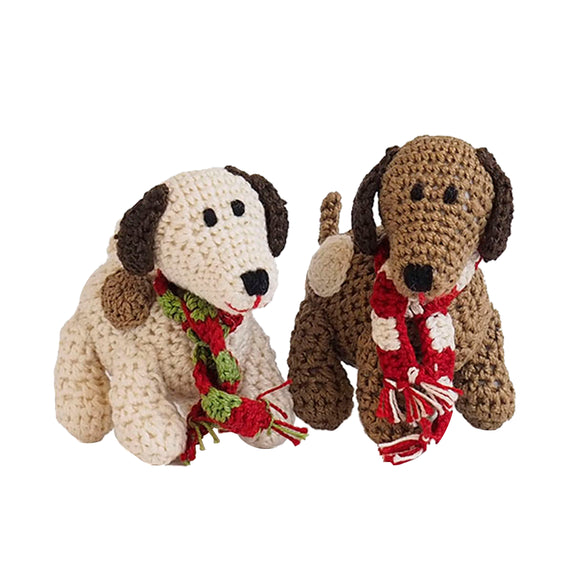 Crochet Spotted Dog Ornament-Set of Two