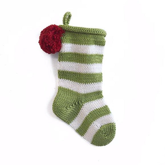 Mini Stripe Green Stocking
