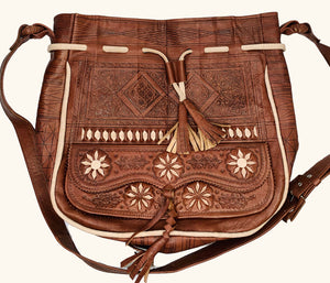 Moroccan Large Brown Leather Bag
