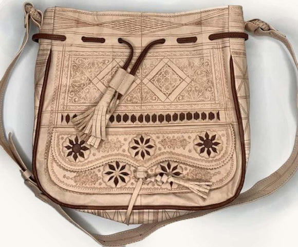 Moroccan Large Neutral Leather Bag