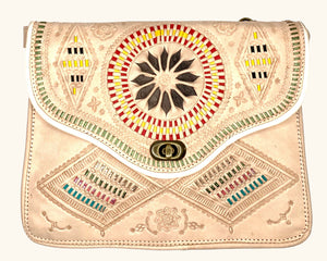 Moroccan Neutral Leather Purse