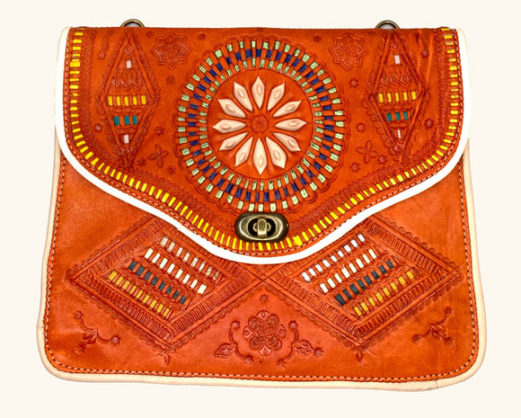 Moroccan Orange Leather Purse