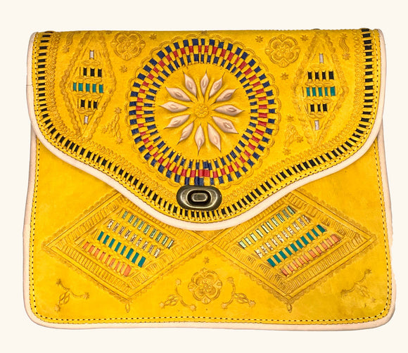 Moroccan Yellow Leather Purse