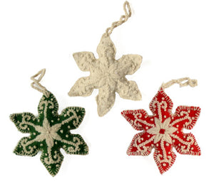 Embroidered Snowflake Ornaments Set