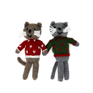 Cats in Christmas Sweaters Ornament Pair