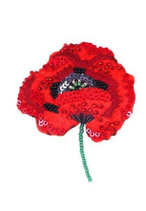Red Poppy Embellished  Pin