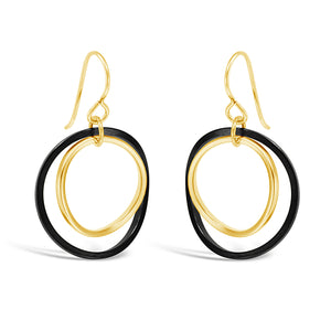 Black & Gold Twist Earrings