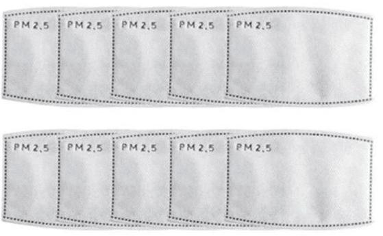10- Pack PM2.5 Disposable Filters For Reusable Face Masks
