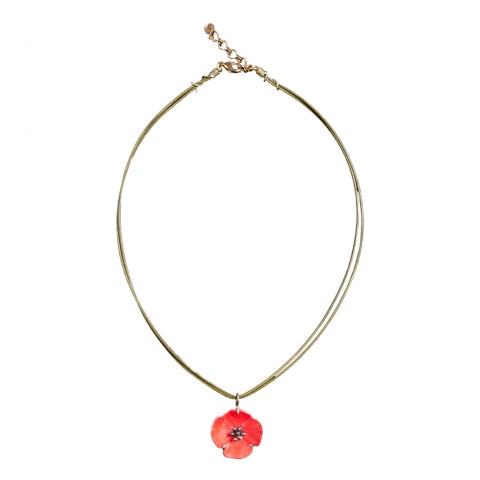 Red Poppy Pendant Leather Cord Necklace