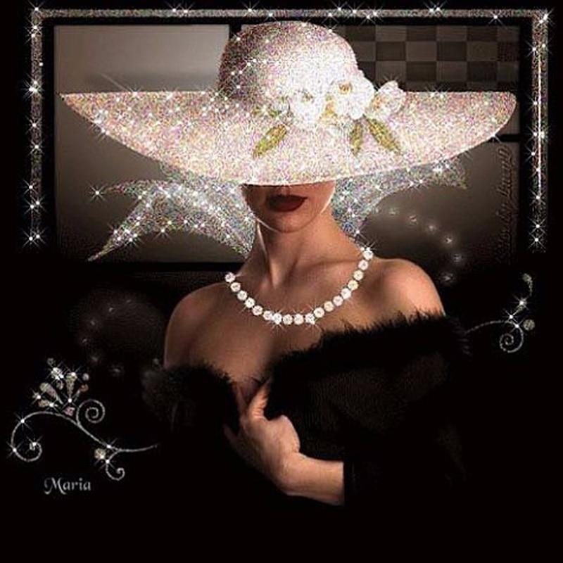 Lady In Black Dress And White Hat DIY 5D Cross Stitch Full Square Round Diamond Painting