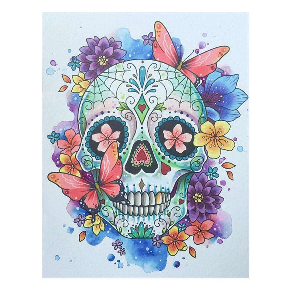 LZAIQIZG Diamond Mosaic Flower Skull Full Square Diamond Painting Cross Stitch Kit Diamond Embroidery Sale Picture Rhinestone