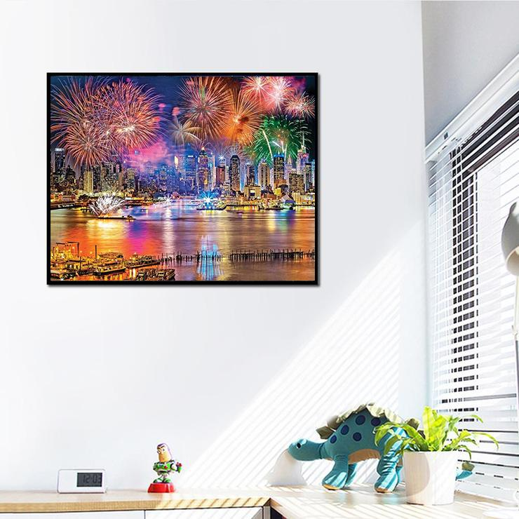 Firework In City DIY DIY 5D Cross Stitch Full Square Diamond Painting