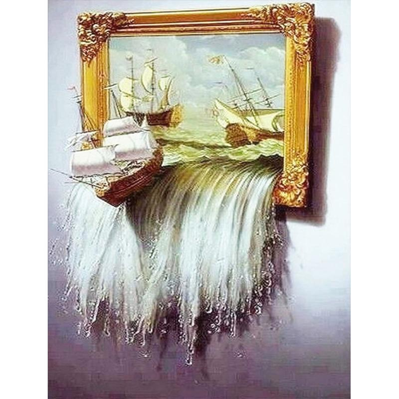 Waterfall Sailboat DIY 5D Cross Stitch Full Square Round Diamond Painting