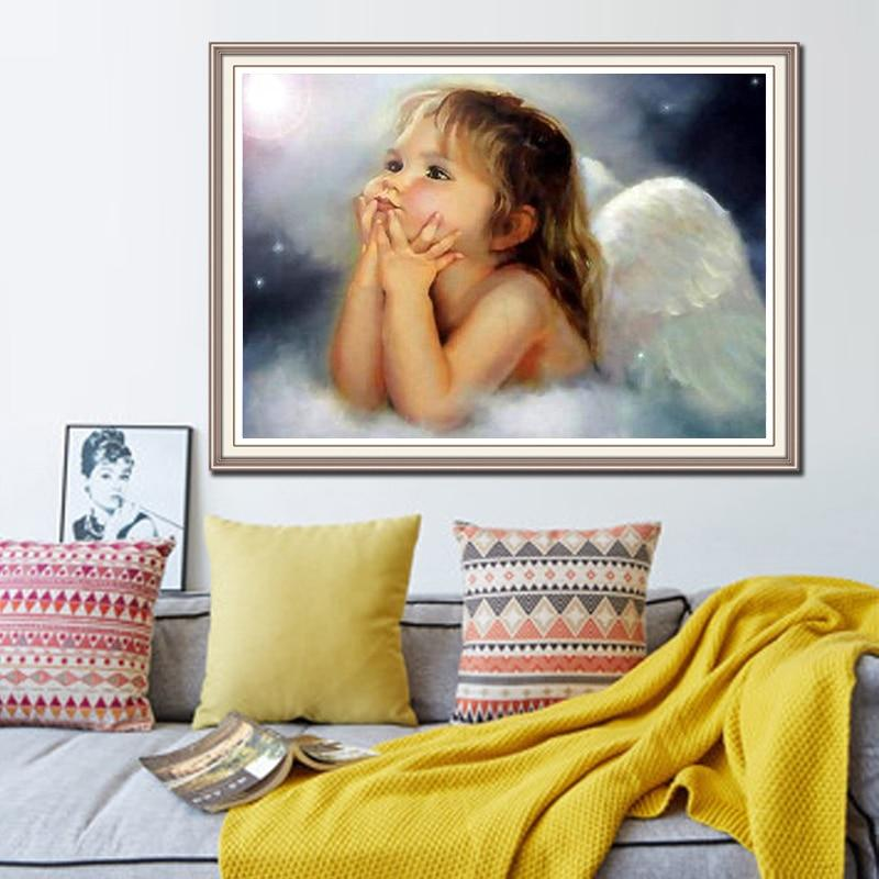 5D Diamond Embroidery Round Crystal Resin picture Mosaic Angel Picture