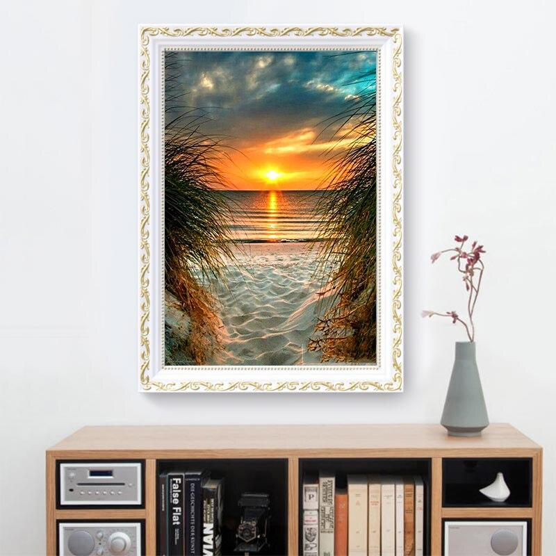 Sunset Beach DIY 5D Cross Stitch Full Square Diamond Painting