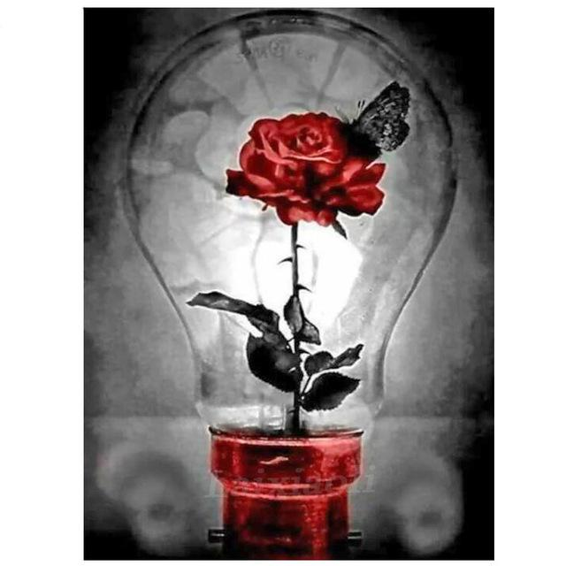 Light Bulb Flower DIY 5D Cross Stitch Full Square Round Diamond Painting