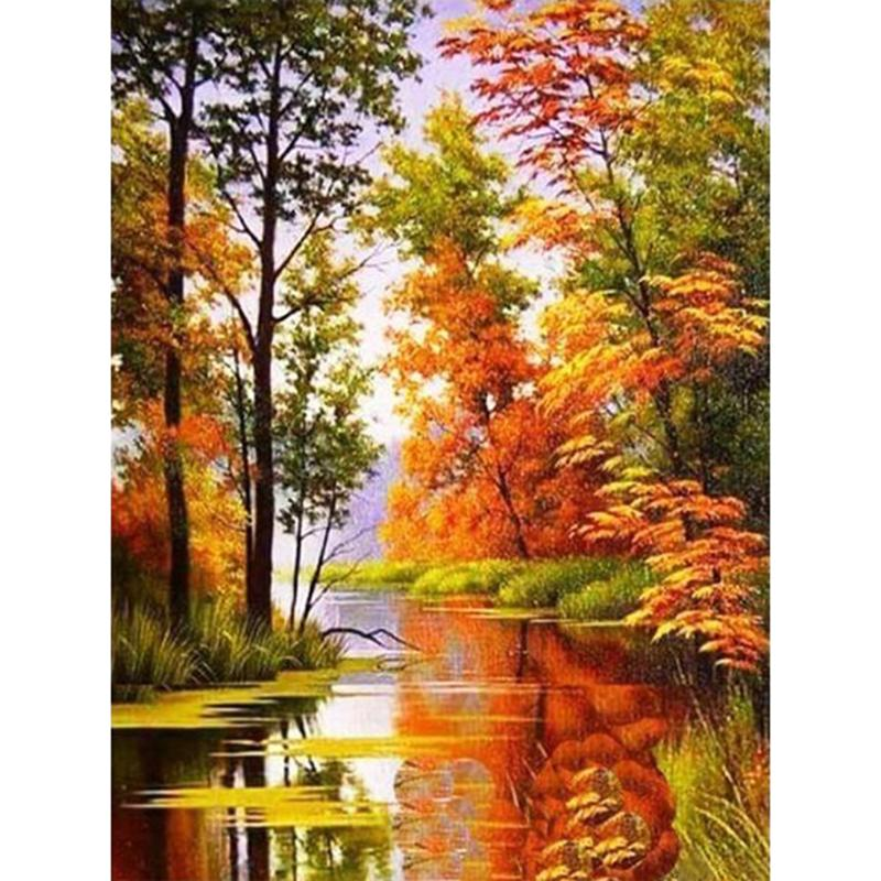 Landscape Autumn DIY 5D Cross Stitch Full Square Round Diamond Painting