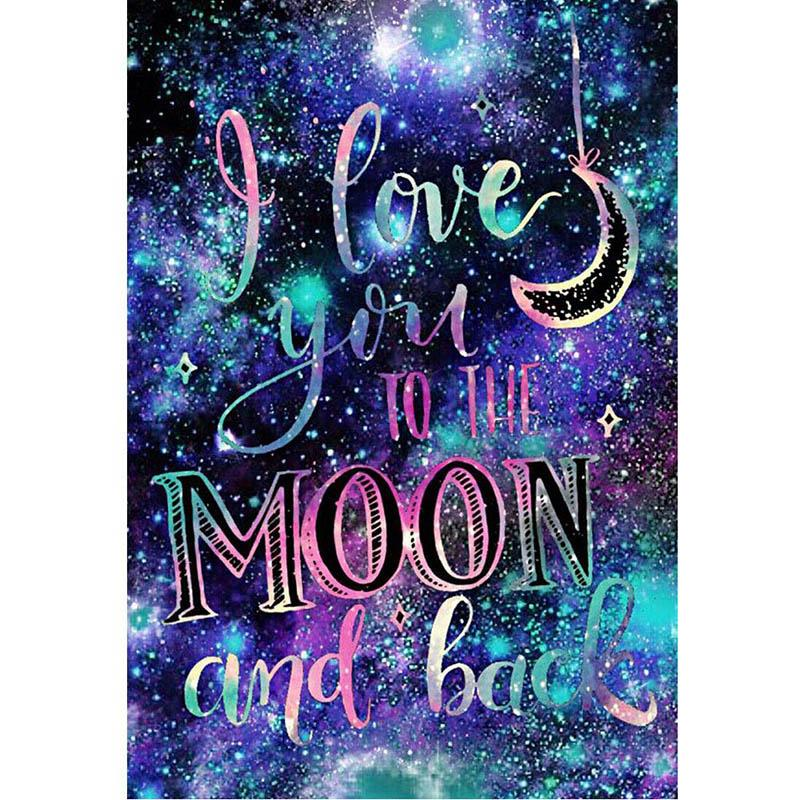 I Love You To The Moon DIY 5D Cross Stitch Full Square Round Diamond Painting