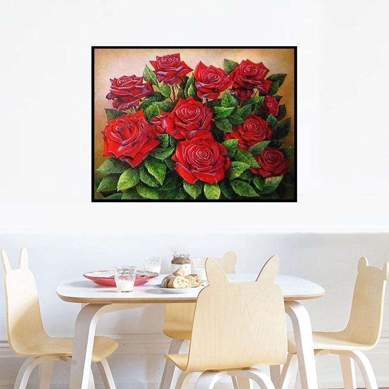 Needlework Diamond Embroidery Red Rose Flower 5D Rhinestones Diamond Painting