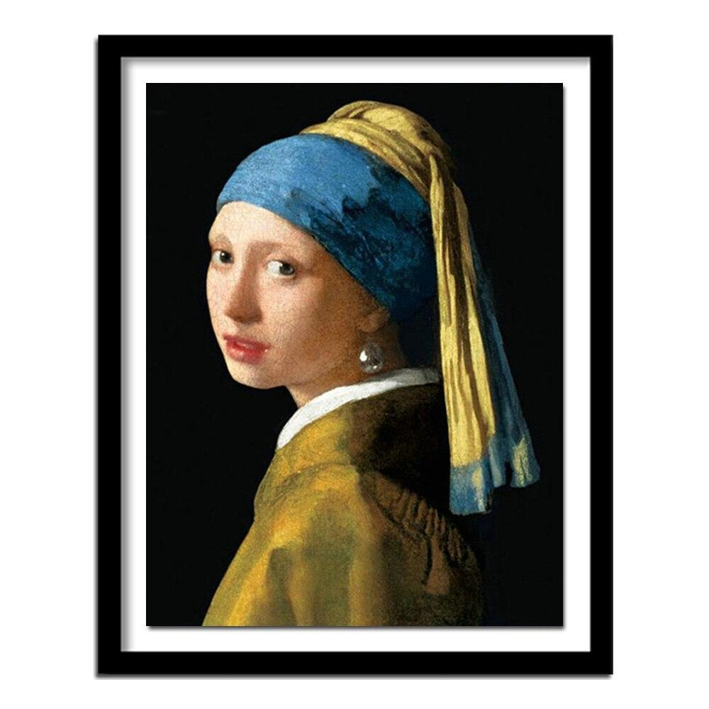 Diamond embroidery vermeer girl with pearl necklace diy diamond painting full square  rhinestones decor FS950