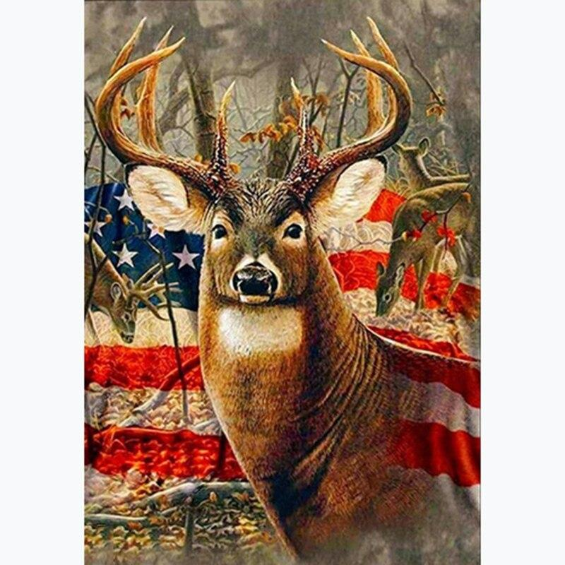 Animals DIY Diamond Painting Deer Decoration Home Full Square American Flag Picture Of Rhinestone