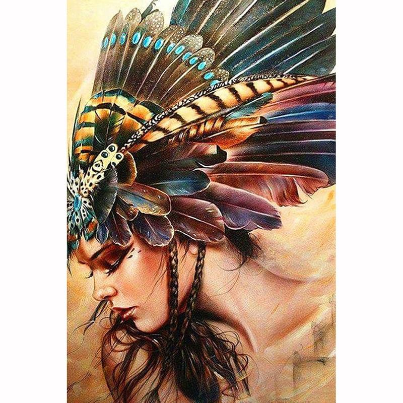 Feather Lady DIY 5D Cross Stitch Full Square Diamond Painting